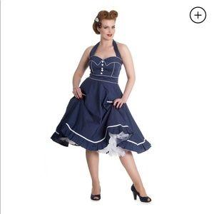 HellBunny 50s Polka Dot Haltertop Dress Navy Blue